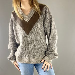 Etienne Aigner vintage knit sweater with leather